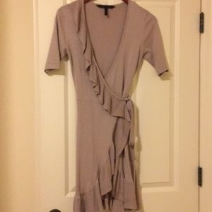 Silk/cotton BCBG wrap dress with raffle.